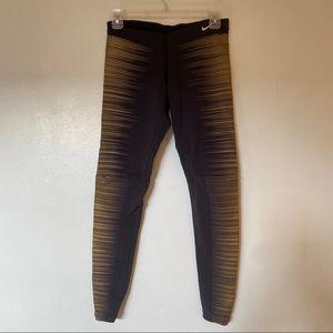 Nike Black and Gold Dri-Fit Leggings Small Glow